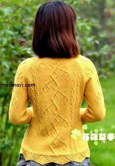 вязаные модели спицами со схемами пуловер спинка