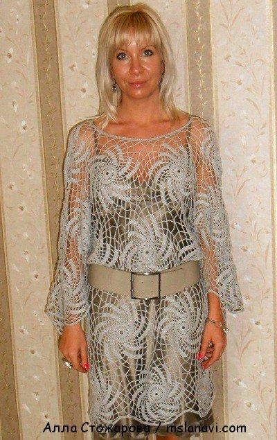 Платье крючком филейной сеткой