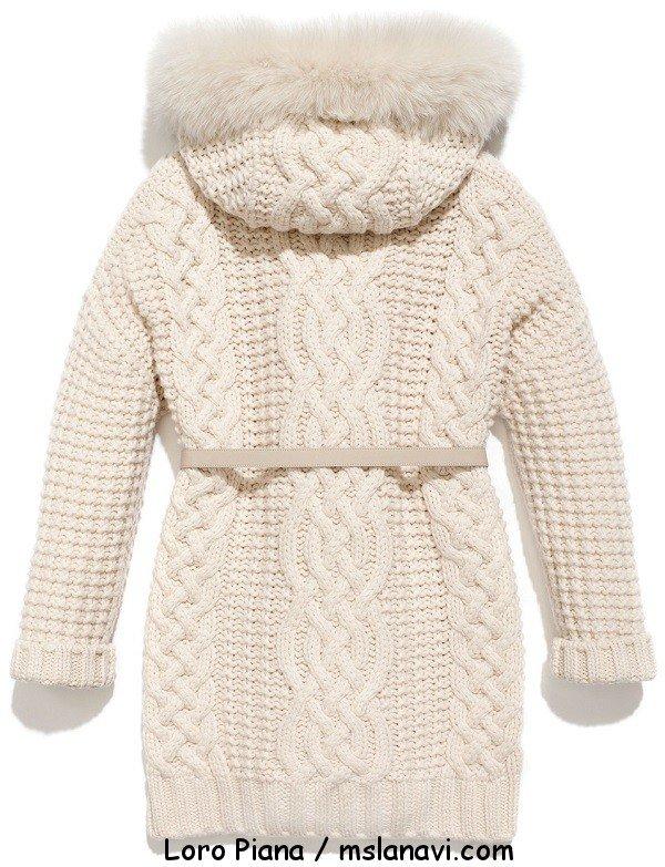 Вязаное женское пальто спицами