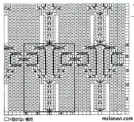 Рельефный узор спицами №107