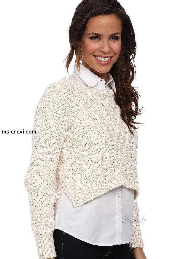 Короткий свитер спицами от 525