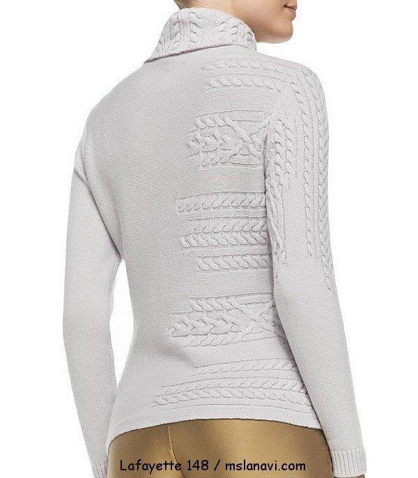 красивый вязаный пуловер спинка