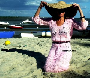 """Ажурное платье спицами с описанием """"Розовая мечта"""""""