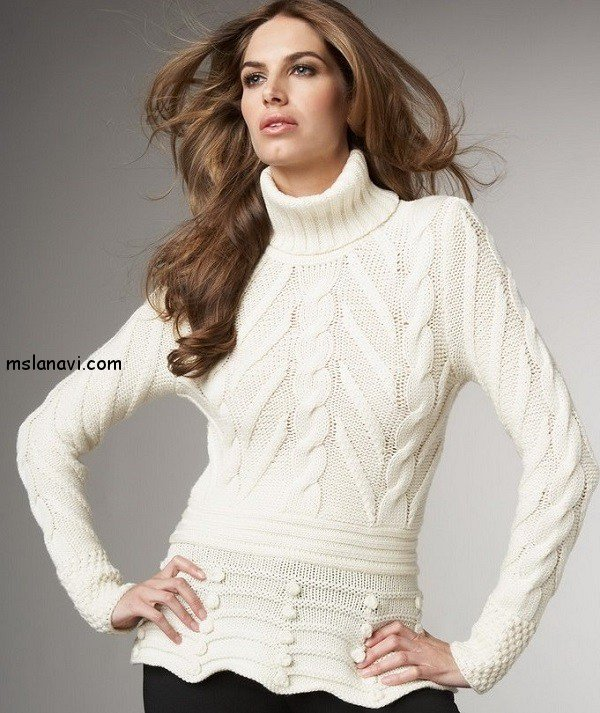Белый свитер спицами с баской