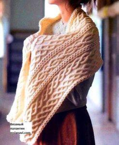 Вязаный шарф палантин узорами араны