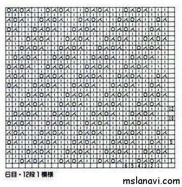 Узор спицами диагональ №155