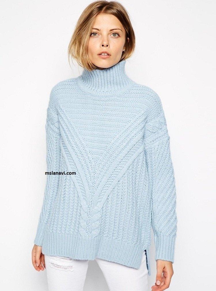 пуловер женский лодочка вязаный спицами схемы