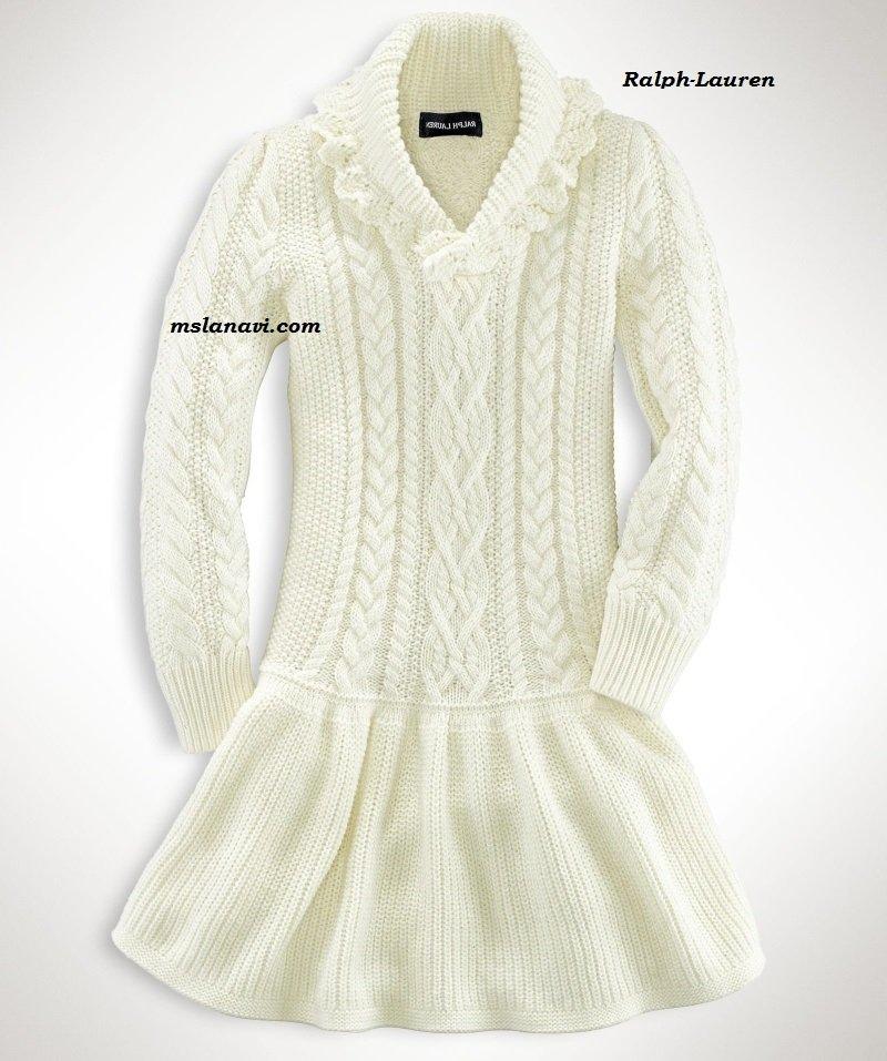 Красивые вязаные платья для девочек