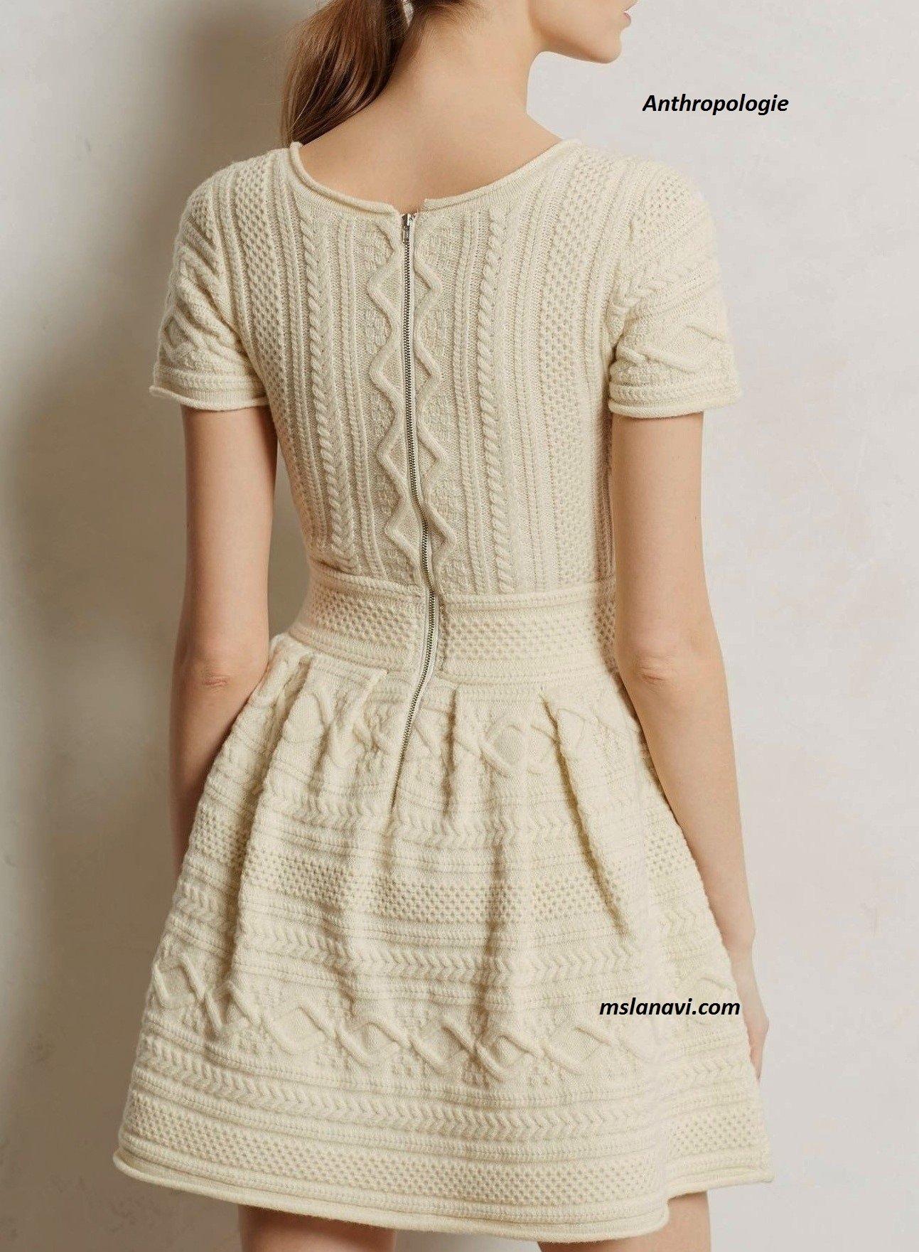 Вязаное платье спицами для женщин от Anthropologie