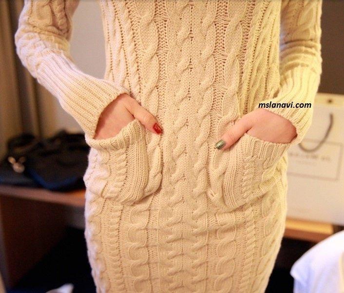 платье спицами с косами перед