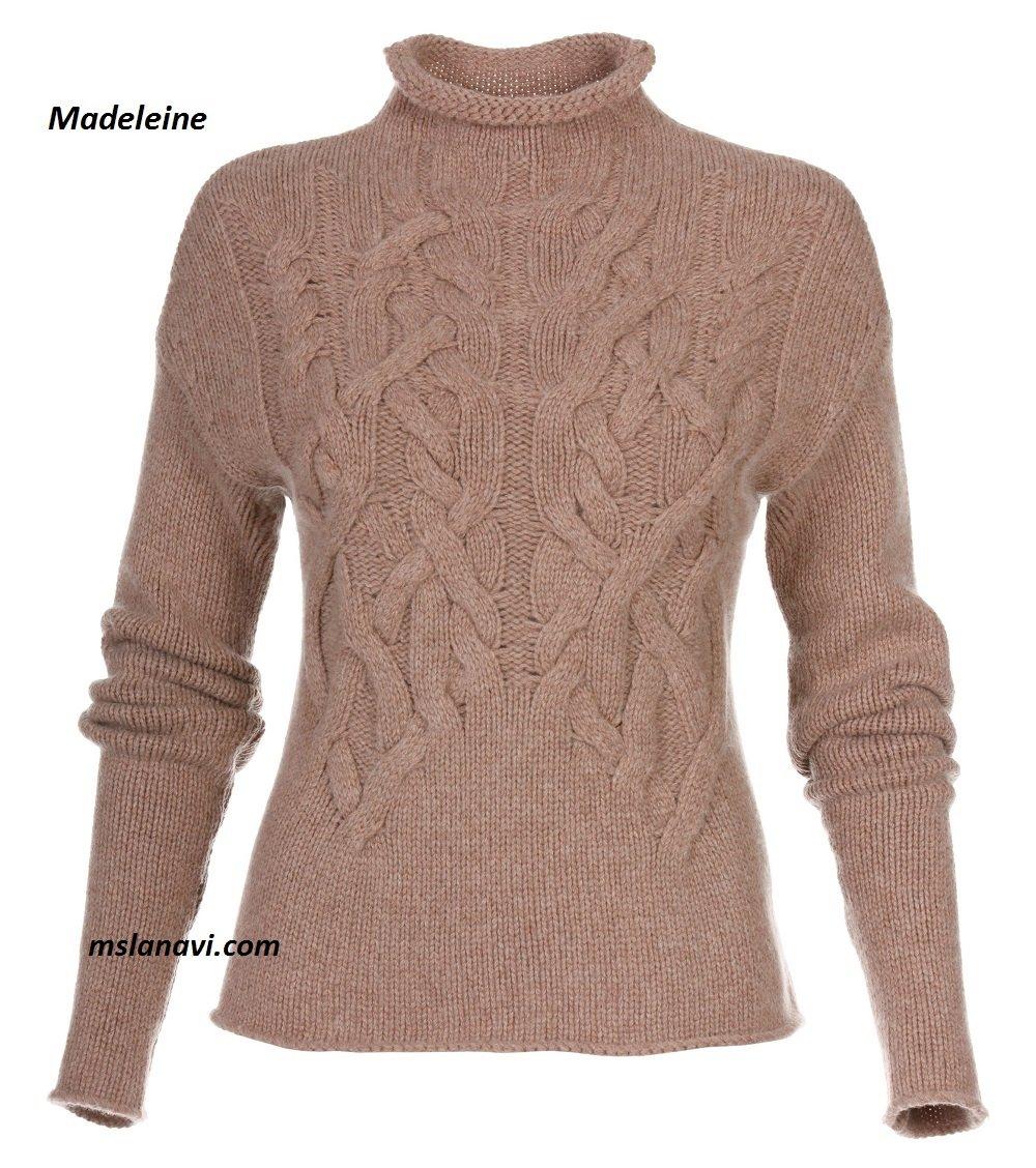 Модный пуловер спицами от бренда Madeleine