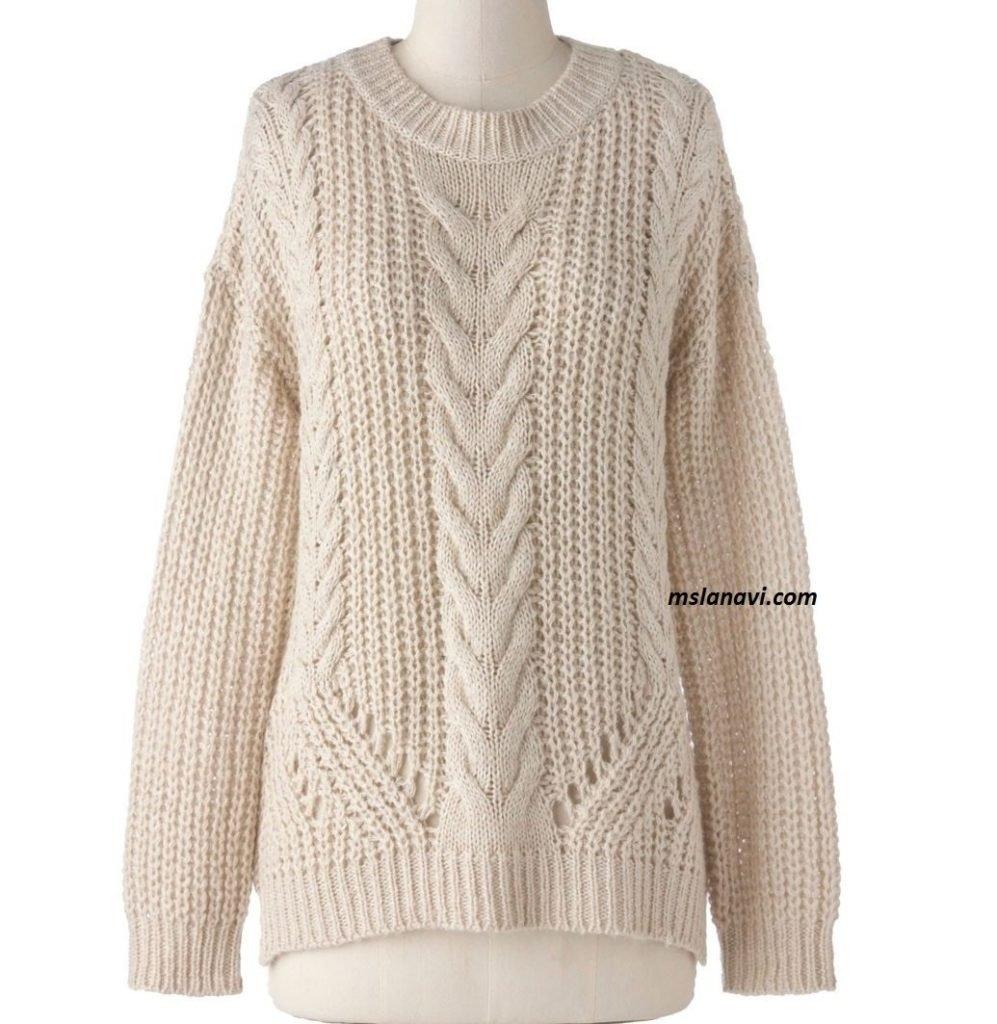 Свободный свитер спицами патентной резинкой