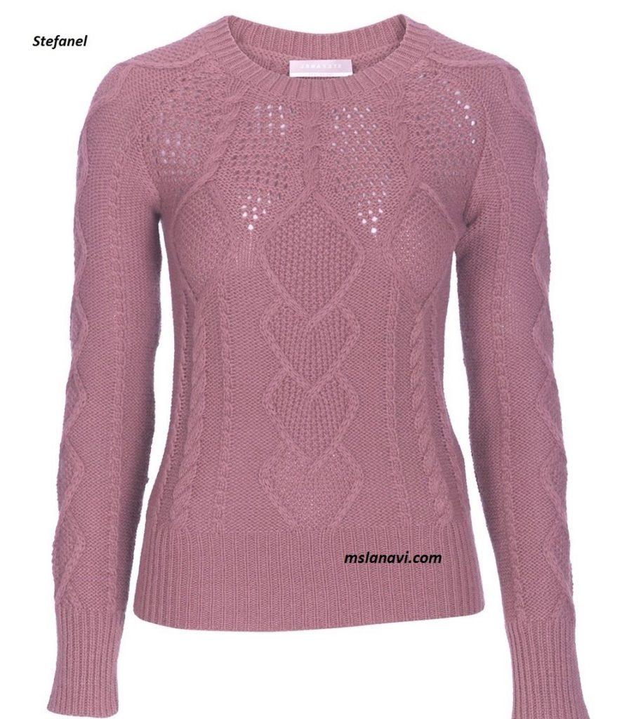 Вязаный пуловер спицами от Stefanel