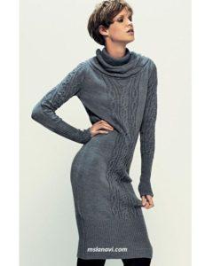 Теплое платье спицами с аранами