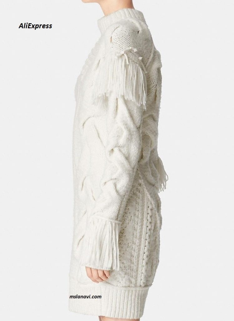 Белое вязаное платье из АлиЭкспресс