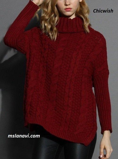 длинный свитер спицами вяжем с лана ви