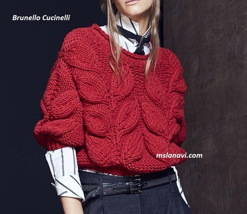 вязание свитера туника с листьями схема