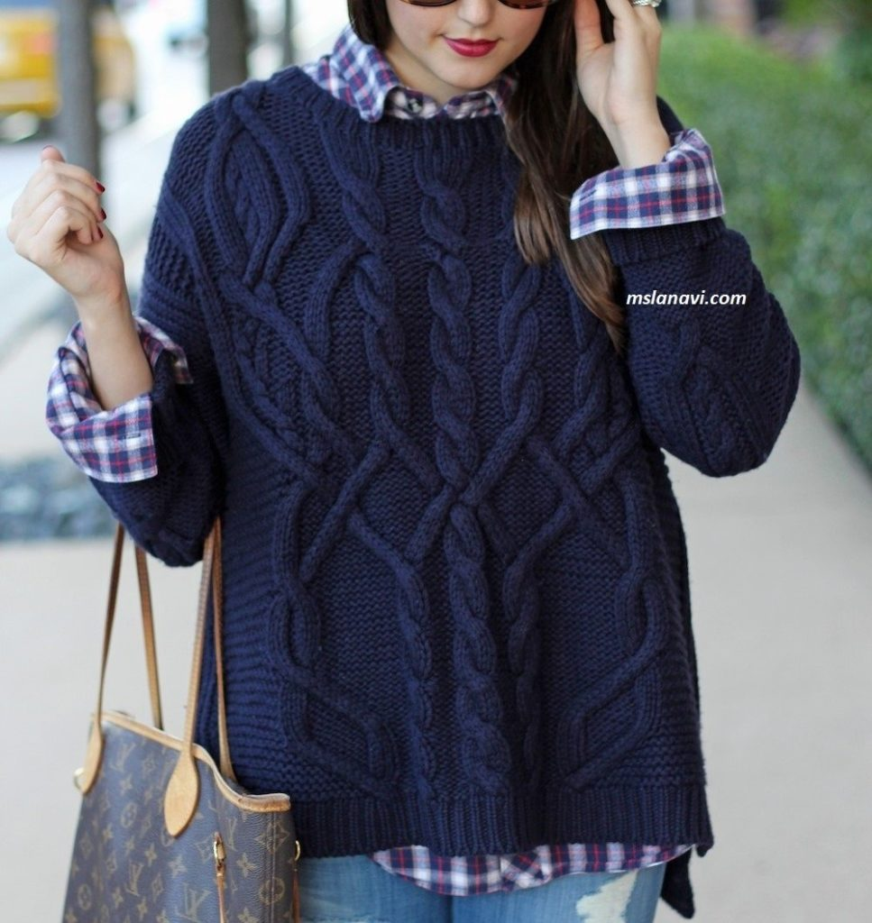 схема вязания свитера с косами спицами