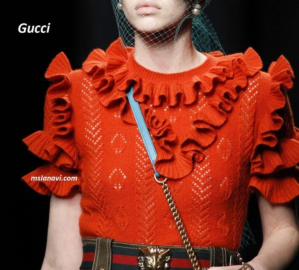 Вязаная ажурная кофточка спицами от Gucci