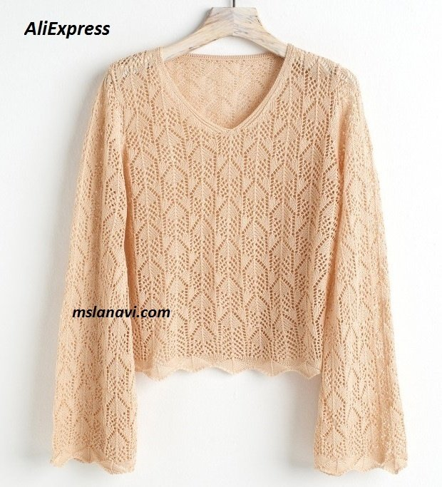 Ажурный пуловер спицами на АлиЭкспресс