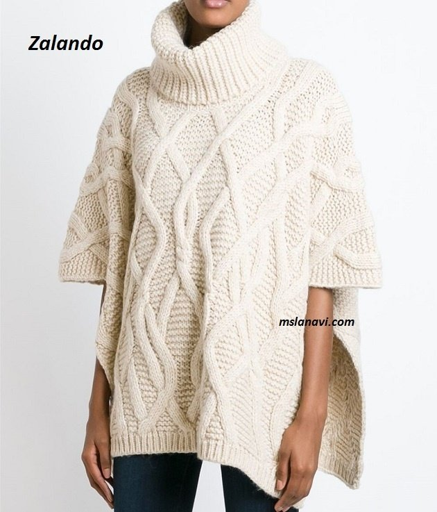 Вязаное пончо красивыми аранами из Zalando