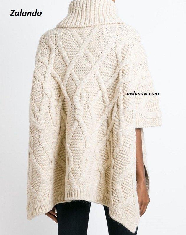 Вязаное пончо красивыми спицами