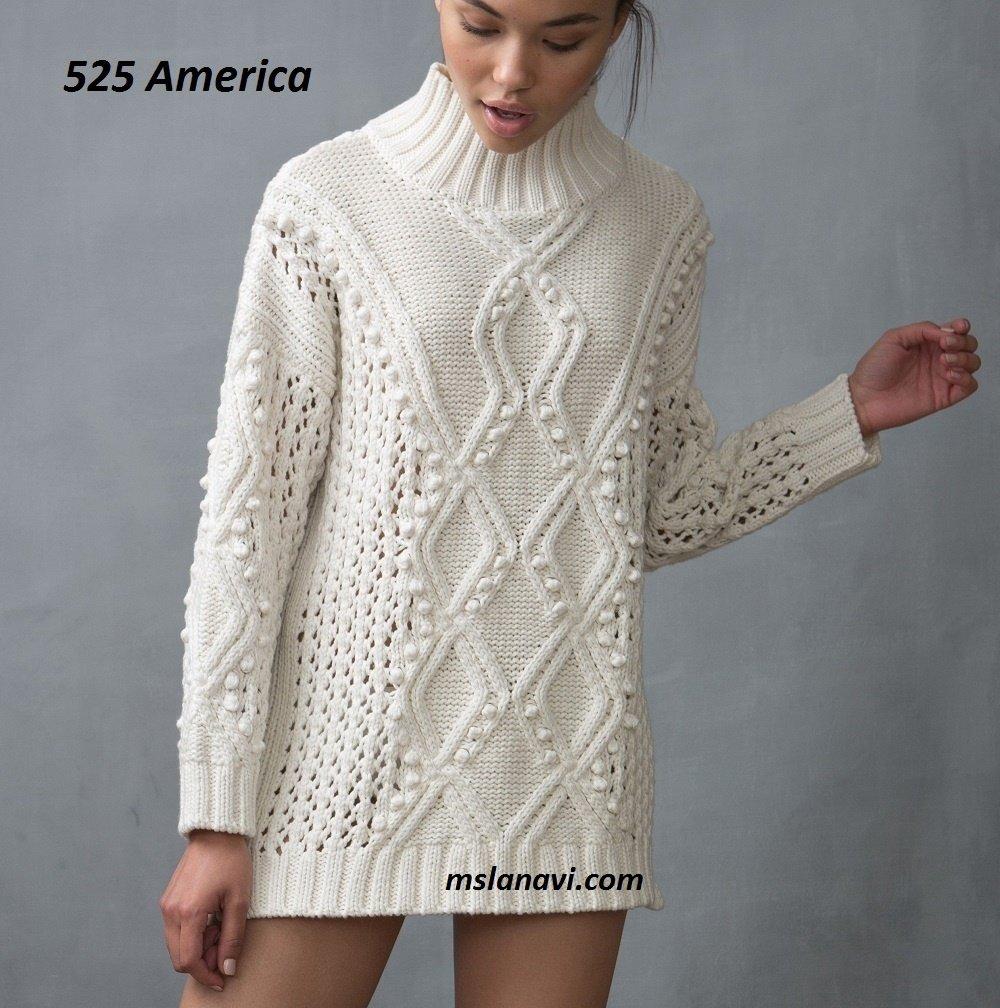 Зимний свитер с косами спицами