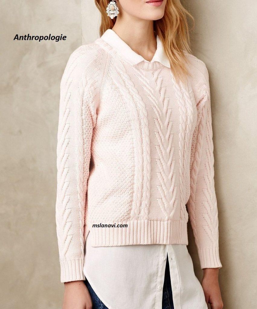 вязаные пуловер поло спицами со схемами