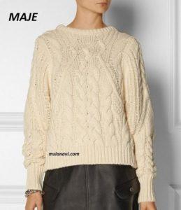 Вязаный свитер спицами от MAJE