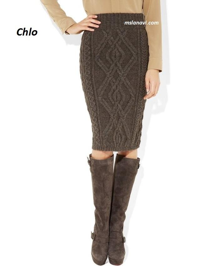 Вязаная юбка спицами от Chlo