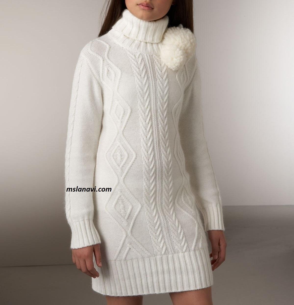 Цветное платье-пуловер спицами