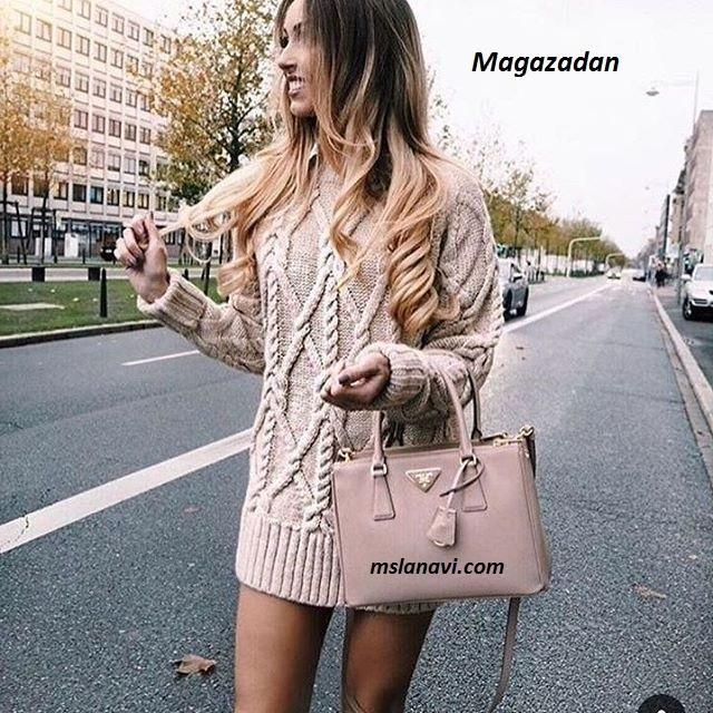 Вязаный пуловер спицами из Magazadan