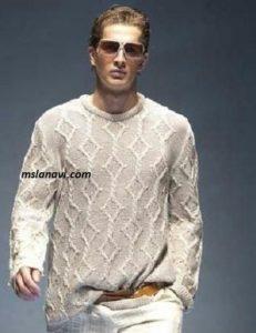 Мужской пуловер с ромбами
