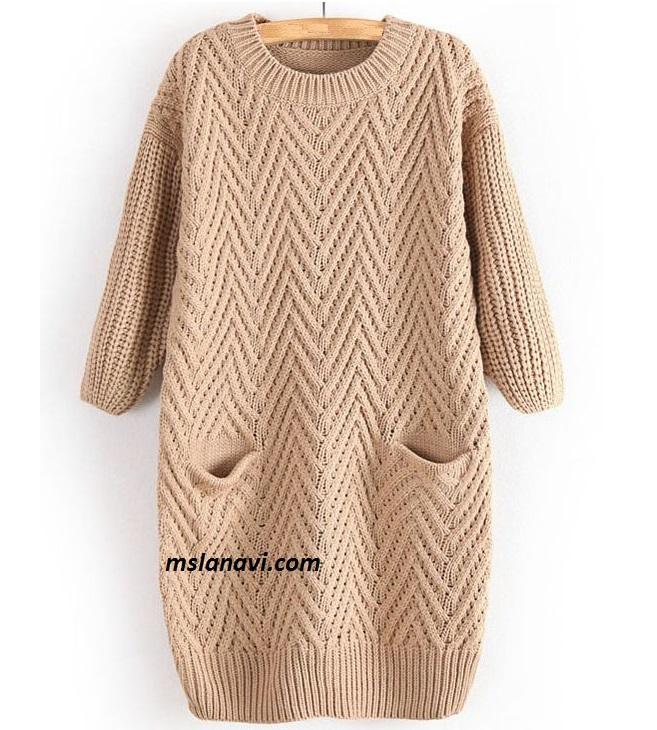 платье туника с узором вяжем с лана ви