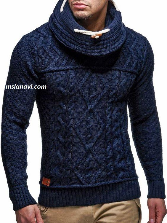 Приталенный мужской свитер спицами