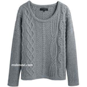 Пуловер с ассиметричным расположением узоров
