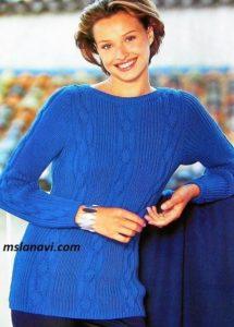Вязаный свитер с резинкой и аранами