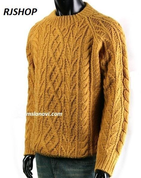 Мужской свитер для вязания спицами с выразительными узорами