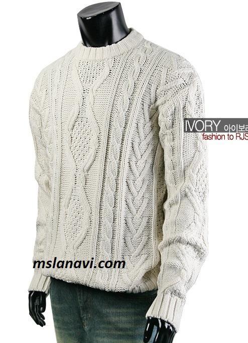 Мужской свитер спицами с витыми аранами