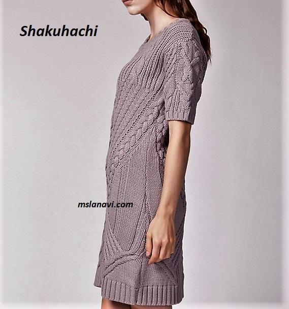 вязаное платье от Shakuhachi вяжем с лана ви