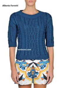 Вязаный пуловер спицами от Alberta Ferretti