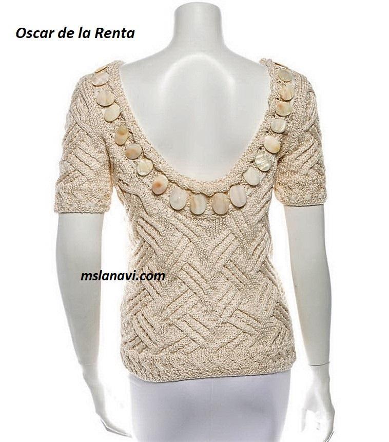 Летний пуловер спицами от Oscar de la Renta