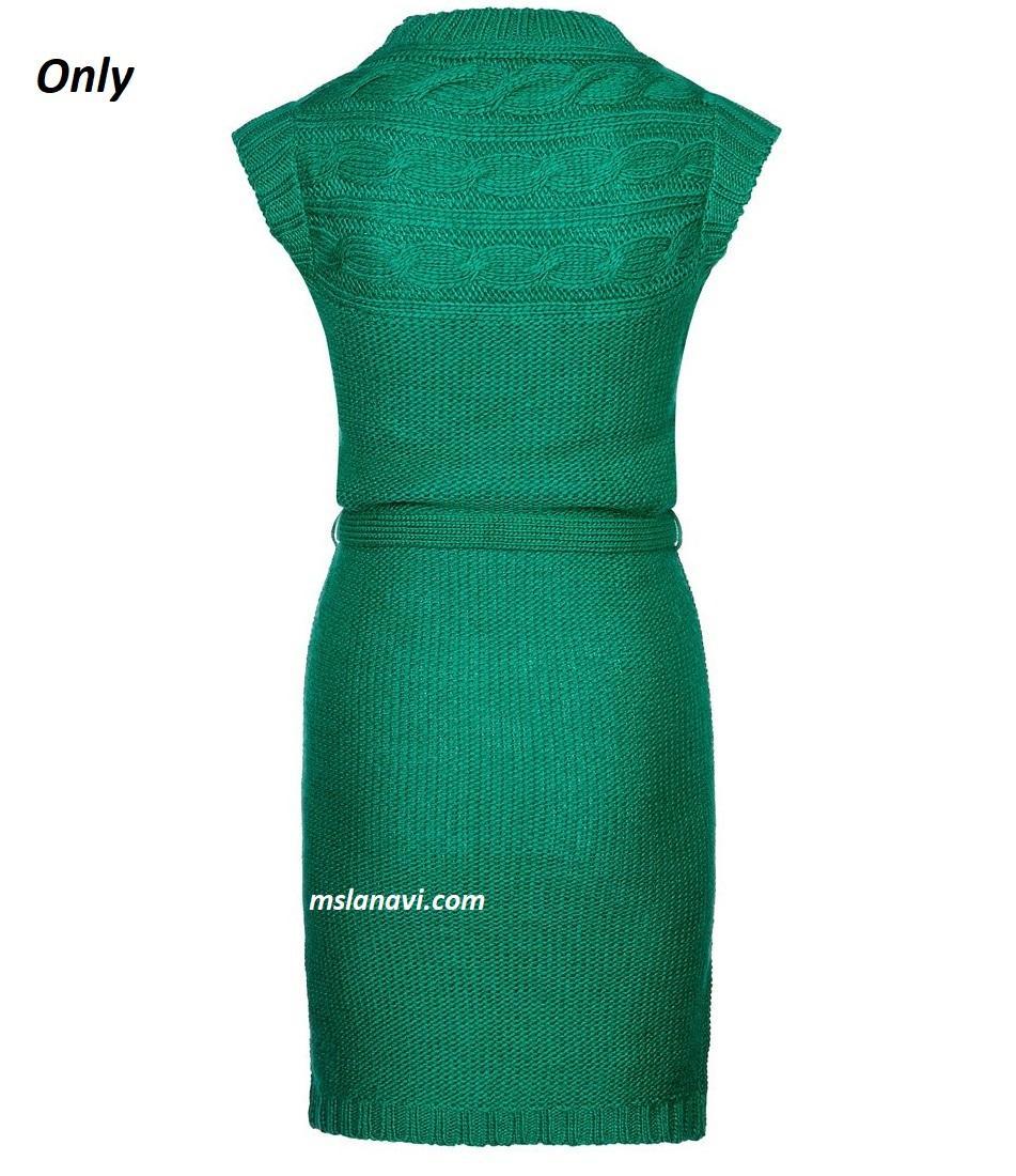 Платье спицами на кокетке от Only