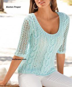 Ажурный пуловер спицами от Boston Proper