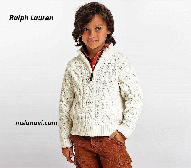 Свитер для мальчика с застежкой поло от Ralph Lauren