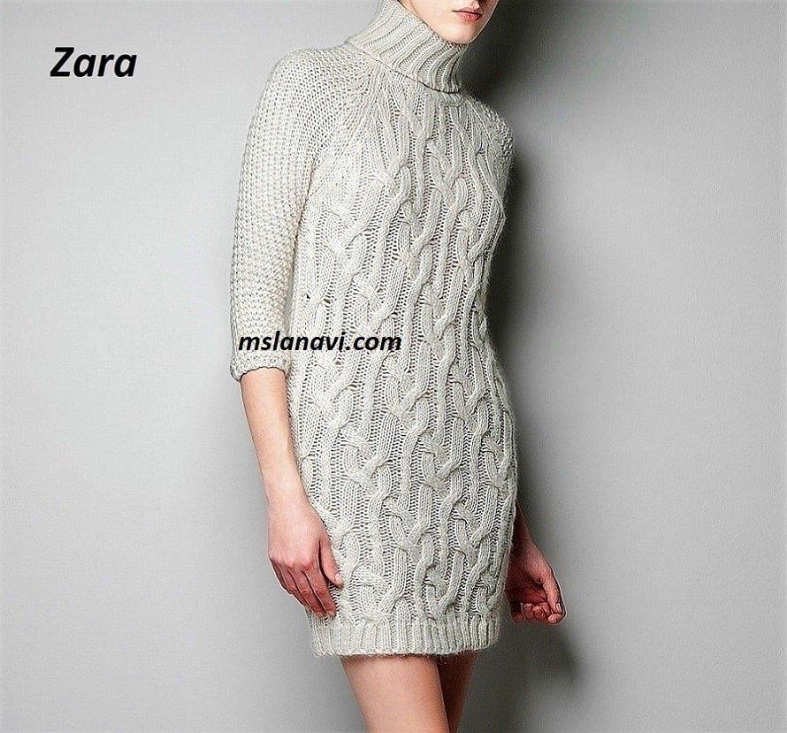 Платье вязаное аранами от Zara