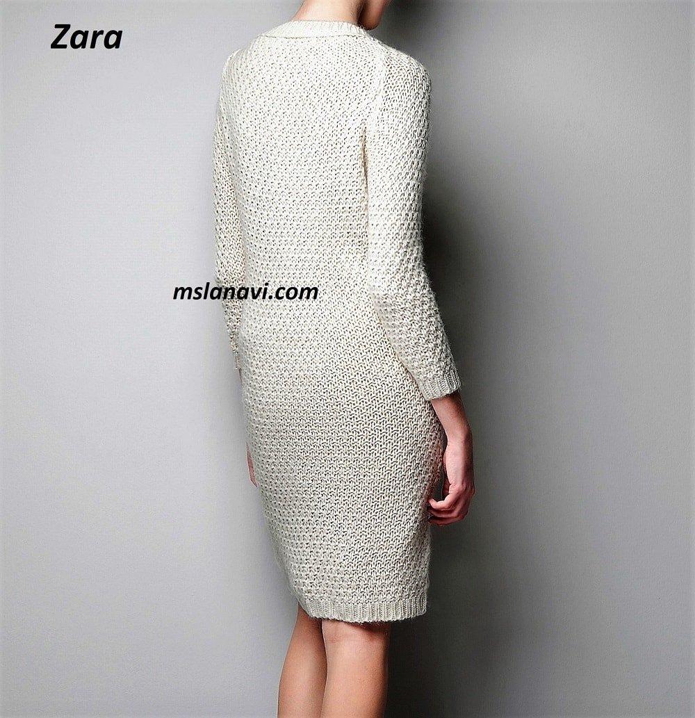 Платье спицами с широким араном от Zara