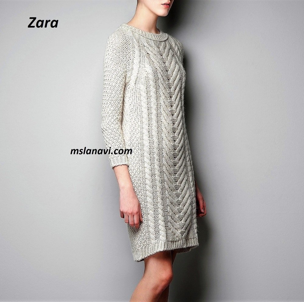 c1ea3ec68a3 Платье спицами с широким араном от Zara
