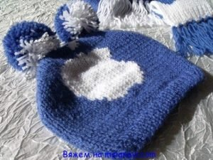детская шапка спицами схема