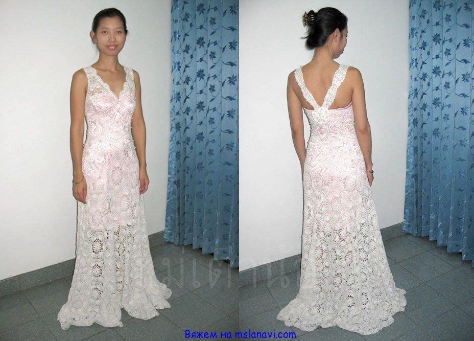 длинные вязаные платья